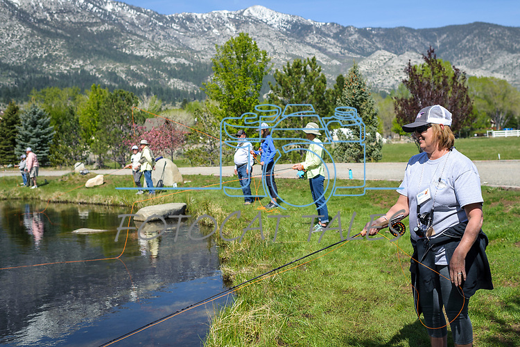Adrienne Priewe participates in the Casting for Recovery fishing clinic at Bently Ranch in Gardnerville, Nev. May 4, 2018.<br /> Photo by Candice Vivien/Nevada Momentum