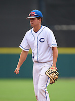 Clay Blue Devils first baseman Rich Long (5) during the 42nd Annual FACA All-Star Baseball Classic on June 6, 2021 at Joker Marchant Stadium in Lakeland, Florida.  (Mike Janes/Four Seam Images)