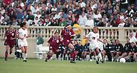 SAN JOSE, CA - MAY 09: Tisha Venturini # 15 and Julie Foudy # 11 during a game between England and USWNT at Spartan Stadium on May 09, 1997 in San Jose, California.