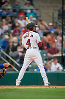 Rochester Red Wings LaMonte Wade Jr (4) at bat during an International League game against the Buffalo Bisons on May 31, 2019 at Frontier Field in Rochester, New York.  Rochester defeated Buffalo 5-4 in ten innings.  (Mike Janes/Four Seam Images)