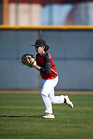 Eamonn Woods (2) of Hume-Fogg Academic in Nashville, Tennessee during the Baseball Factory All-America Pre-Season Tournament, powered by Under Armour, on January 13, 2018 at Sloan Park Complex in Mesa, Arizona.  (Mike Janes/Four Seam Images)