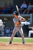 Winston-Salem Dash JJ Muno (10) at bat during a Carolina League game against the Carolina Mudcats on August 14, 2019 at Five County Stadium in Zebulon, North Carolina.  Winston-Salem defeated Carolina 4-2.  (Mike Janes/Four Seam Images)