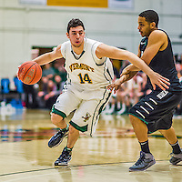 26 January 2014: University of Vermont Catamount Guard Josh Elbaum, a Senior from Melville, NY, in action against the Binghamton University Bearcats at Patrick Gymnasium in Burlington, Vermont. The Catamounts defeated the Bearcats 72-39 to notch their 12th win of the season. Mandatory Credit: Ed Wolfstein Photo *** RAW (NEF) Image File Available ***