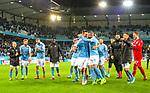 MFF-AIK, Allsvenskan 10282019. Markus Rosenberg and Guillermo Molins celebrate the 2-0 win vs AIK.