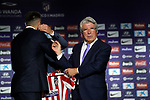 Atletico de Madrid's new player Hector Herrera (l) with the General Manager, Andrea Berta (c) and the President Enrique Cerezo during his official presentation. July 4, 2019. (ALTERPHOTOS/Acero)