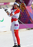 Sochi, Russia.10/03/2014. Canadian Brittany Hudak competes in the cross country women's 15km standing event at the Sochi 2014 Paralympic Winter Games in Sochi Russia. (Photo Scott Grant/Canadian Paralympic Committee)