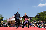 """Chris O'Neill, MAY 5, 2016 - American Chris O'Neill, the first foreign full-time salaried ninja in Japan, performs with his Japanese colleagues during an event at Nagoya Castle in Nagoya, Aichi Prefecture, Japan. O'Neill joins six Japanese ninjas hired by Aichi Prefecture to promote tourism in the region.<br /> <br /> O'Neill said being a ninja was a lifelong dream. """"My personal goal is to protect the weak, defend the innocent, and be a guardian for those who need a guardian,"""" he said in response to a reporter's question.<br /> <br /> O'Neill added that he was proud to perform alongside his six Japanese colleagues. """"We're writing the next chapter of ninja history. We're the next generation of ninja."""" (Photo by Ben Weller/AFLO) (JAPAN) [UHU]"""