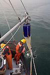 Puget Sound, marine research, Washington State, National Marine Fisheries Service, NMFS, scientists Plankton net deployed, to monitor diseases of organisms in Puget Sound, Skagit Bay, aboard the research vessel Harold W. Streeter National Marine Fisheries Service, NMFS, marine, research scientists trawl net to monitor diseases of fish in Puget Sound, Skagit Bay, aboard the research vessel Harold W. Streeter