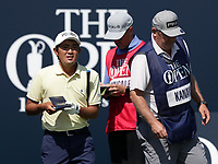 15th July 2021; Royal St Georges Golf Club, Sandwich, Kent, England; The Open Championship, PGA Tour, European Tour Golf, First Round Takumi Kanaya (JAP) looks at the course planner on the 1st tee