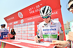 Irish Champion Sam Bennett (IRL) Deceuninck-Quick Step at sign on before Stage 1 of the UAE Tour 2020 running 148km from The Pointe to Dubai Silicon Oasis, Dubai. 23rd February 2020.<br /> Picture: LaPresse/Massimo Paolone | Cyclefile<br /> <br /> All photos usage must carry mandatory copyright credit (© Cyclefile | LaPresse/Massimo Paolone)