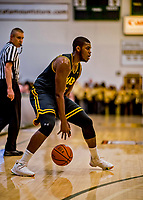 16 March 2019: UMBC Retriever Guard R.J. Eytle-Rock, a Freshman from London, England, in first half against the University of Vermont Catamounts, in the America East Championship Game at Patrick Gymnasium in Burlington, Vermont. The Catamounts defeated the Retrievers 66-49 to take the AE Championship for the 2018/2019 NCAA Men's Basketball season. Mandatory Credit: Ed Wolfstein Photo *** RAW (NEF) Image File Available ***