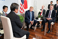 President Donald J. Trump meets Japan Prime Minister Shinzo Abe in a Pull-Aside meeting at the Centre de Congrés Bellevue Sunday, Aug. 25, 2019, in Biarritz, France, to announce a broad agreement on trade negotiations. (Official White House Photo by Shealah Craighead)