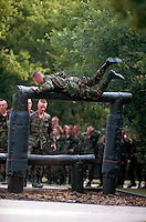Recruits on training confidence course, Lackland AFB, San Antonio, Texas