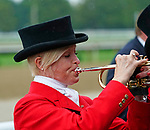 August 28, 2021: Bugler Bethann Dixon plays the call to the post during a race on Travers Day at Saratoga Race Course in Saratoga Springs, N.Y. on August 28th, 2021.