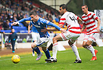 St Johnstone v Hamilton Accies...12.09.15  SPFL McDiarmid Park, Perth<br /> Michael O'Halloran gets away from Lucas Tagliapietra<br /> Picture by Graeme Hart.<br /> Copyright Perthshire Picture Agency<br /> Tel: 01738 623350  Mobile: 07990 594431