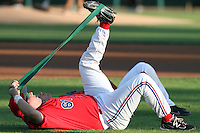 Casey Haerther #61 of the Inland Empire 66'ers stretches before game against the Modesto Nuts at Arrowhead Credit Union Park in San Bernardino,California on May 30, 2011. Photo by Larry Goren/Four Seam Images