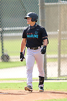 Miami Marlins Bryson Brigman (15) bats during a Minor League Spring Training camp day on April 28, 2021 at Roger Dean Chevrolet Stadium Complex in Jupiter, Fla.  (Mike Janes/Four Seam Images)