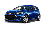 Stock pictures of low aggressive front three quarter view of 2017 Chevrolet Sonic LT 5 Door Hatchback Low Aggressive