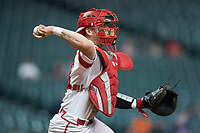 Louisiana Ragin' Cajuns catcher Kole McKinnon (11) makes a throw to first base against the Mississippi State Bulldogs in game three of the 2018 Shriners Hospitals for Children College Classic at Minute Maid Park on March 2, 2018 in Houston, Texas.  The Bulldogs defeated the Ragin' Cajuns 3-1.   (Brian Westerholt/Four Seam Images)
