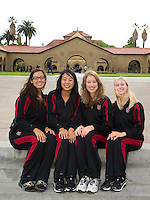 (L-R) Danielle Rossoni, Wendy Lu, Madison Crocker and Jessica Guenther of the 2010 Stanford Synchronized Swimming team.