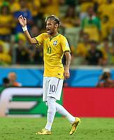 Neymar of Brazil gestures in frustration