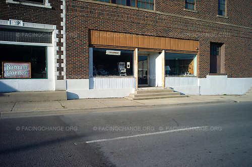 Lima, Ohio.March 2012..Businesses in downtown Lima, which resembles many Midwestern small towns with many closed businesses and boarded up storefronts, even as some new buildings and industry continue.