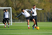 Cameron Carter-Vickers (left) battles with Joe Rodon (right) of Swansea City during the Swansea City Training at The Fairwood Training Ground, in Swansea, Wales, UK. Wednesday 02 November 2018