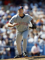 Brett Tomko of the San Diego Padres pitches during a 2002 MLB season game against the Los Angeles Dodgers at Dodger Stadium, in Los Angeles, California. (Larry Goren/Four Seam Images)