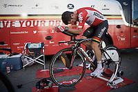 Greg Henderson (NZL/Lotto-Soudal) warming up<br /> <br /> stage 13 (ITT): Bourg-Saint-Andeol - Le Caverne de Pont (37.5km)<br /> 103rd Tour de France 2016