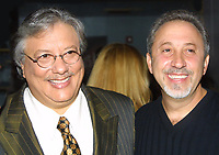 Miami Beach, FL 11-13-2001<br /> Emilio Estefan, Jr. and Arturo Sandoval<br /> at Billboard Live where Sandoval received <br /> a plaque celebrating 30 years of musical <br /> excellence. Estefan announced that Sandoval <br /> will now record for Estefan's Miami Beach based record label Crescent Moon Records.<br /> Photo by Adam Scull/PHOTOlink