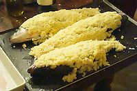 How to prepare fish baked in the oven in salt crust (en croute de sel), recipe, series of pictures: three fish covered in salt crust before being baked in the oven Clos des Iles Le Brusc Six Fours Cote d'Azur Var France