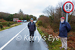 Residents of Castlecove are furious over the 60km speed limit at the entrance of the Village making it the fastest speed limit through a village in the country picture here l-r; Dan Galvin & Alfie Jones.