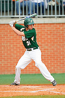 Nicholas Daddio (20) of the Charlotte 49ers at bat against the Virginia Commonwealth Rams at Robert and Mariam Hayes Stadium on March 30, 2013 in Charlotte, North Carolina.  The 49ers defeated the Rams 9-8 in game one of a double-header.  (Brian Westerholt/Four Seam Images)