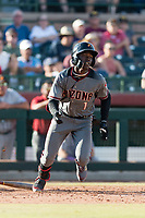 Salt River Rafters shortstop Jazz Chisholm (1), of the Arizona Diamondbacks organization, starts down the first base line during the Arizona Fall League Championship Game against the Peoria Javelinas at Scottsdale Stadium on November 17, 2018 in Scottsdale, Arizona. Peoria defeated Salt River 3-2 in 10 innings. (Zachary Lucy/Four Seam Images)