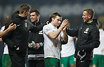 Lewis Stevenson takes the acclaim at full-time after scoring the second goal for Hibs