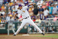 LSU Tigers pitcher Hunter Newman (55) delivers a pitch to the plate against the TCU Horned Frogs in the NCAA College World Series on June 14, 2015 at TD Ameritrade Park in Omaha, Nebraska. TCU defeated LSU 10-3. (Andrew Woolley/Four Seam Images)