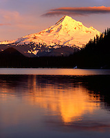 Sunset light on Mt. Hood reflected in Lost Lake; Mt. Hood National Forest, OR