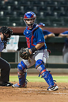 AZL Rangers catcher David Garcia (9) looks a runner back to first base during an Arizona League game against the AZL Giants Black at Scottsdale Stadium on August 4, 2018 in Scottsdale, Arizona. The AZL Giants Black defeated the AZL Rangers by a score of 6-3 in the second game of a doubleheader. (Zachary Lucy/Four Seam Images)