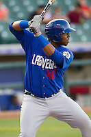 Las Vegas 51s first baseman Mike McDade #40 at bat during the Pacific Coast League baseball game against the Round Rock Express on August 7th, 2012 at the Dell Diamond in Round Rock, Texas. The Express defeated the 51s 5-4. (Andrew Woolley/Four Seam Images).