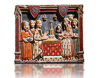 Gothic painted bas-relief of the Presentation of Jesus at the Templeby Master of Albesa, Active in Lleida. Polychrome and gilded limestone bas-relief. Second half of 14th century. Dimesions 57 x 69 x 11 cm. Compartment of a sculptural altarpiece devoted to the Virgin. From the crypt of the collegiate church of Sant Pere d'Àger (Noguera). National Museum of Catalan Art, Barcelona, Spain, inv no: 017343-000