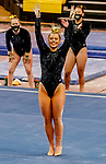 February 19, 2021: Towson's Nikki Borkowski finishes competing in the floor exercise during the 2nd Annual George McGinty Alumni Meet at the SECU Arena at Towson University in Towson, Maryland. Scott Serio/Eclipse Sportswire/CSM