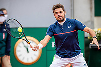 30th September 2020, Roland Garros, Paris, France; French Open tennis, Roland Garr2020; Stan WAWRINKA SUI plays a forehand during his match against Dominik KOEPFER GER in the Suzanne Lenglen court on the second round of the French Open