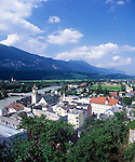 Austria, Tyrol, Rattenberg at river Inn: panorama view from Castle Mountain
