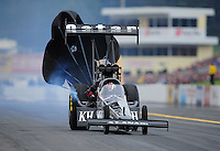 Oct. 1, 2011; Mohnton, PA, USA: NHRA top fuel dragster driver Larry Dixon during qualifying for the Auto Plus Nationals at Maple Grove Raceway. Mandatory Credit: Mark J. Rebilas-