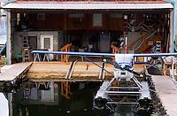 Seaplane at dock hanger, Petersburg, Alaska, USA