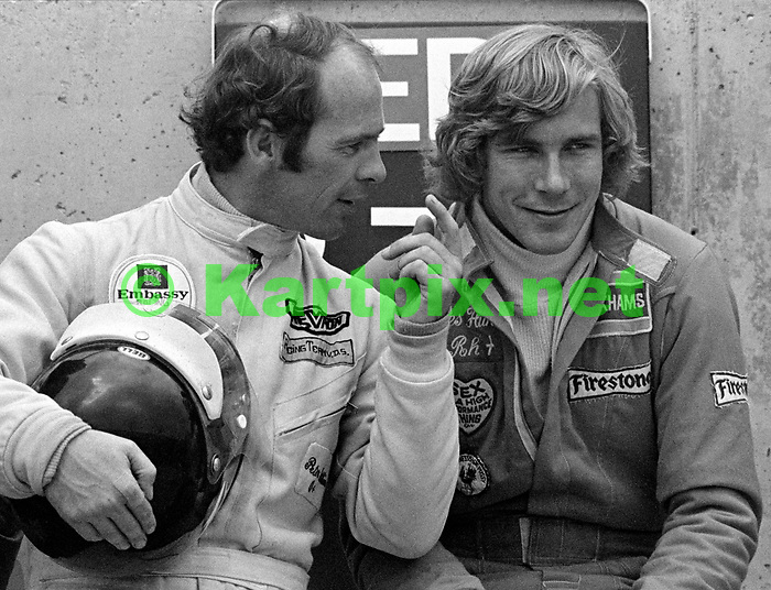 Peter Gethin chatting with James Hunt at the 1974 John Player British Grand Prix at Brands Hatch