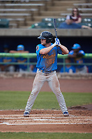 Jacob Wetzel (55) of the Myrtle Beach Pelicans at bat against the Lynchburg Hillcats at Bank of the James Stadium on May 22, 2021 in Lynchburg, Virginia. (Brian Westerholt/Four Seam Images)