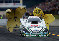 Oct. 7, 2012; Mohnton, PA, USA: NHRA funny car driver Mike Neff during the Auto Plus Nationals at Maple Grove Raceway. Mandatory Credit: Mark J. Rebilas-