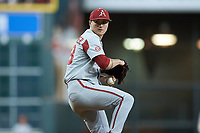 Arkansas Razorbacks starting pitcher Patrick Wicklander (33) in action against the Texas Longhorns in game six of the 2020 Shriners Hospitals for Children College Classic at Minute Maid Park on February 28, 2020 in Houston, Texas. The Longhorns defeated the Razorbacks 8-7. (Brian Westerholt/Four Seam Images)