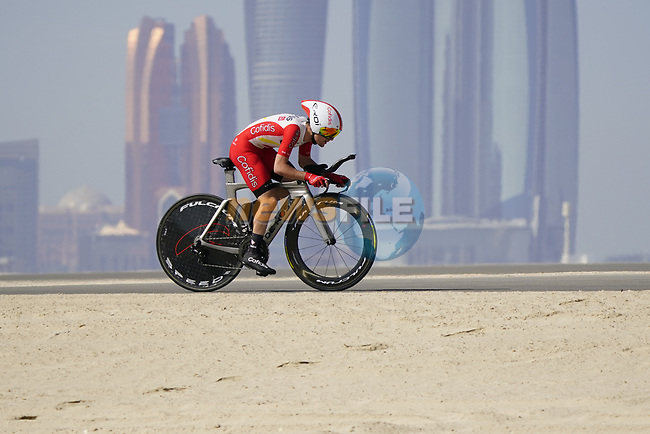 Remy Rochas (FRA) Cofidis during Stage 2 of the 2021 UAE Tour an individual time trial running 13km around  Al Hudayriyat Island, Abu Dhabi, UAE. 22nd February 2021.  <br /> Picture: Eoin Clarke | Cyclefile<br /> <br /> All photos usage must carry mandatory copyright credit (© Cyclefile | Eoin Clarke)
